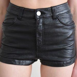 H&M Black Faux Leather Shorts